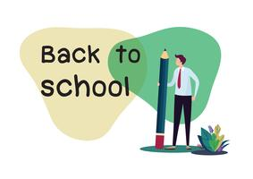 Bienvenido de nuevo al colegio. Ilustración vectorial de dibujos animados plana