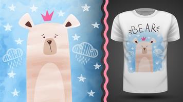 Acuarela oso - idea para camiseta estampada.