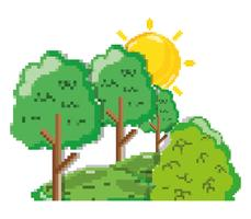 Pixelated forest scenery vector