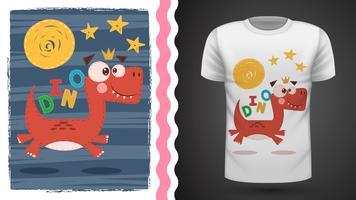 Gullig dino - idé för tryckt-shirt