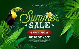 Sommerschlussverkauf-Design mit Blume, Tukan-Vogel und tropischen Palmblättern auf grünem Hintergrund. Vektor-Feiertags-Illustration mit Sonderangebot-Typografie-Buchstaben