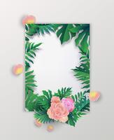 De banner van de de zomerverkoop met tropische bladeren en roze rozenachtergrond, exotisch tropisch bladerenontwerp voor banner, vlieger, uitnodiging, affiche, website of groetkaart. vectorillustratie