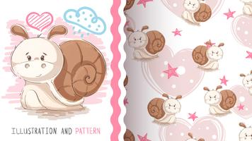 Cute teddy snail - seamless pattern