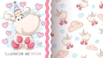 Cute hippo, hippopotamus - seamless pattern