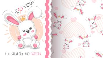Cute princess rabbit - seamless pattern