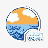 ondas do mar com design de nuvens lanscape