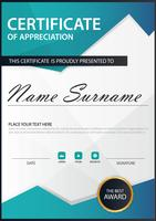 Blue polygon Elegance vertical certificate with Vector illustration ,white frame certificate template with clean and modern pattern presentation