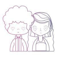 lijn schoonheid paar getrouwd met kapsel ontwerp