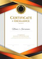 Portrait luxury certificate template with elegant golden border frame, Diploma design for graduation or completion