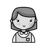 grayscale casual girl with hairstyle and blouse uniform vector