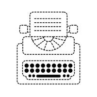 dotted shape retro typewriter equipment with business document