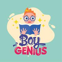 Boy Genius Phrase Illustration.Tack to School Quote