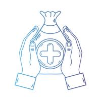 line hands with bag dotation with heart and cross symbol