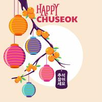 Happy Chuseok Day or Mid Autumn Festival. Korean Holiday Harvest Festival Vector Illustration. Words in Korean meaning good time for Chuseok