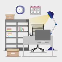Piso de oficinas con escritorio y accesorios de trabajo.