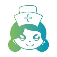 line woman nurse head with hairstyle design