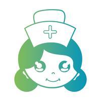 tête de femme infirmière ligne avec la conception de coiffure