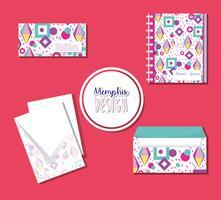 Memphis-notitieblokken en enveloppen bespotten
