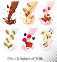 Iconos grandes de la colección de la fruta en un chapoteo de la leche. Café, frutos secos, arándano, frambuesa, fresa, almendra, arándano, miel, vainilla. Conjunto de vectores