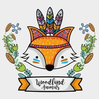 fox tribal animal with feathers design vector