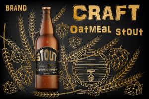 Craft oatmeal stout beer ads. Realistic malt bottle beer isolated on retro background with ingredients wheats, hops and barrel. Vector 3d illustration