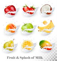 Gran colección de frutas en un chorrito de leche. Manzana, mango, plátano, melocotón, pera, naranja, coco, fresa. Vector Conjunto 1.