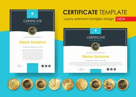 certificaatsjabloon met moderne patroon, diploma, vector illustratie en vector Luxe premium badges ontwerp, Set van retro vintage badges en labels.