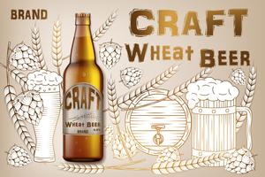 Craft wheat beer ads design. Realistic malt bottle beer isolated on retro background with ingredients wheats, hops and barrel. Vector 3d illustration