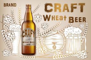 Design di annunci di birra artigianale. Birra realistica della bottiglia di malto isolata su retro fondo con gli ingredienti frumenti, luppolo e barilotto. Illustrazione vettoriale 3d