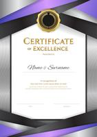 Portrait luxury certificate template with elegant border frame, Diploma design for graduation or completion