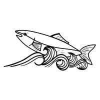 linea pesce animale nel mare con design di onde