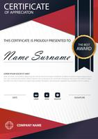 Red line Elegance vertical certificate with Vector illustration ,white frame certificate template with clean and modern pattern presentation