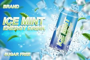 Energy drink label ads with ice cubes and mint leaves. Package design energy drink for poster or banner. Realistic aluminium can mock up. Vector 3d illustration
