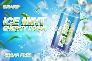 Annunci di etichette di bevande energetiche con cubetti di ghiaccio e foglie di menta. Pacchetto design energy drink per poster o banner. Alluminio realistico può prendere in giro. Illustrazione vettoriale 3d