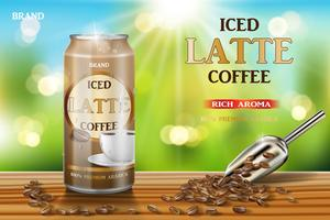 Café en aluminium avec café au lait avec des annonces de lait et de haricots. Illustration 3D de conception de paquet de café arabica chaud sur fond de table et de bokeh en bois. Vecteur