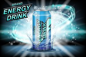 Energy drink label ads with ice cubes on dark background. Package design energy drink for poster or banner. Realistic aluminium can mock up. Vector 3d illustration