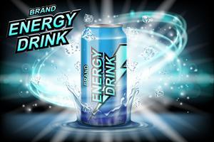 Annonces de l'étiquette de la boisson énergétique avec des glaçons sur fond sombre Boisson énergétique de conception de paquet pour affiche ou bannière. L'aluminium réaliste peut se moquer. Illustration 3d vectorielle