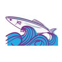 peixe animal no mar com design de ondas