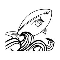 line fish animal in the sea with waves design