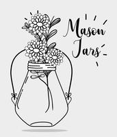 jar mason style with rustic preserve vector