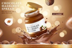 Annunci di diffusione di cioccolato e nocciola