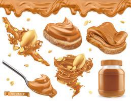 Mantequilla de maní. Conjunto de iconos realista vector 3d