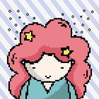 Linda chica pixel art vector