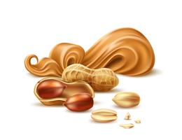 Manteiga de amendoim realista de vetor com casca e nozes