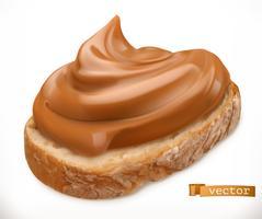 Mantequilla de maní sobre pan. Difundir el caramelo. Icono realista vector 3d