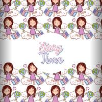 Story time books background pattern