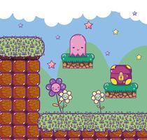Pixelated retro videogame scenery