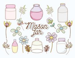 Mason jars with flowers vector