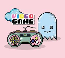 Desenhos animados de pixel de videogame