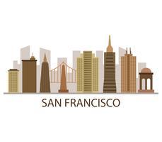 Horizonte de San Francisco sobre un fondo blanco